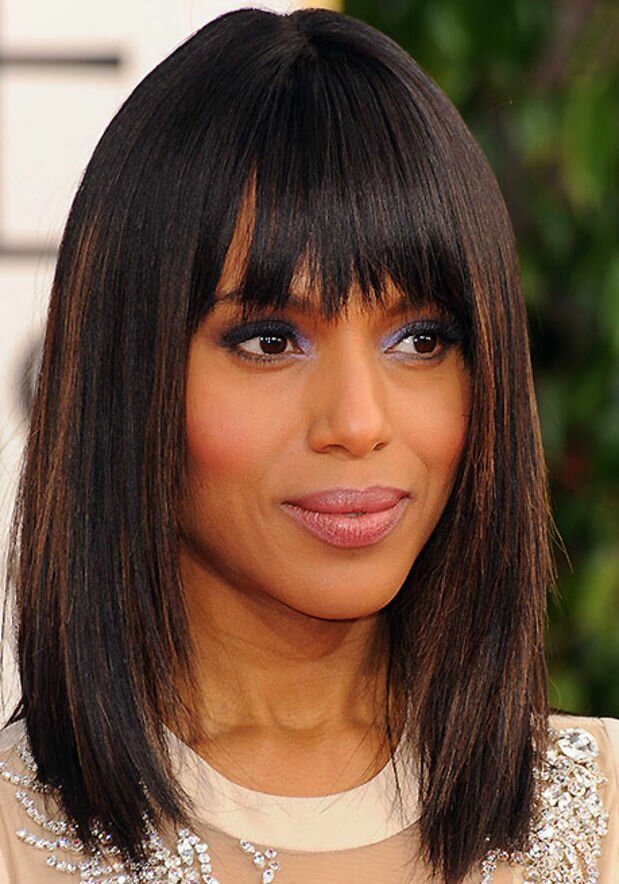 At the 2013 Golden Globes, Kerry Washington did a long bob with bangs as well as blue eye shadow which complemented her look.