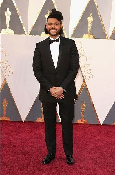 Oscar nominee, The Weeknd, looked dapper in his tux.