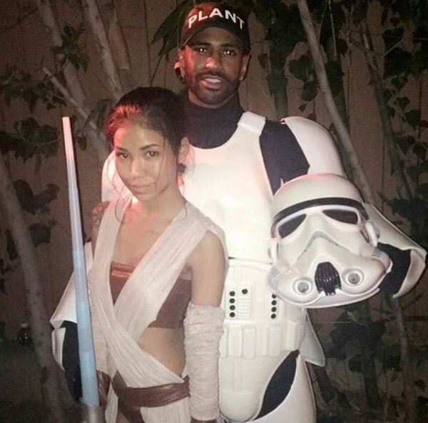 "Jhene Aiko and Big Sean dressed as ""Star Wars"" characters Rey and Finn."